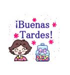 ♥使うとレースが現れるよ♥スペイン語挨拶(個別スタンプ:4)