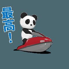 パンダの赤い水上バイク