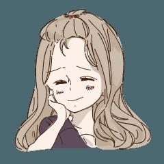 女の子スタンプ【返事】