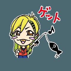魚ガール(うおガール)釣りスタンプ