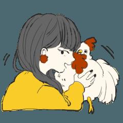 気怠い女子と鶏