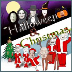 Halloween & Christmas Noh mask sticker.