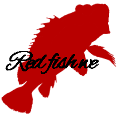 Silhouette sticker of red fish