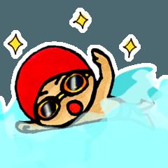 [LINEスタンプ] 水泳男子 (1)