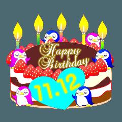 11月の誕生日ケーキのスタンプ