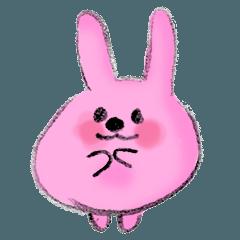 ピンクのうさぎの毎日スタンプ