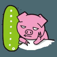 なぜか白目でピンクの毒舌ツンデレ豚