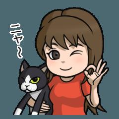 黒白猫と女の子